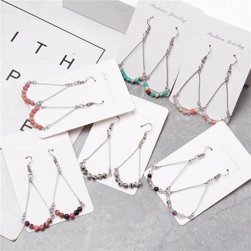 Rhodochrosite Chips Beads Earrings Women Chakra Natural Gravel Stone Bead Pendant Drop Earrings Women Vintage Jewelry Earrings