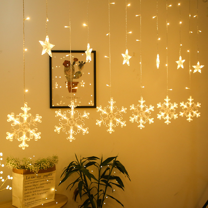 Snowflake LED String Light Curtain Fairy Christmas Garland Wedding Party Light Room Garden Decoration EU / US Plug Light String