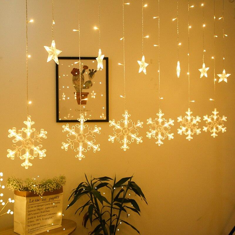 Snowflake LED String Light Curtain Fairy Christmas Garland Wedding Party Light Room Garden Decoration EU / US Plug Light String