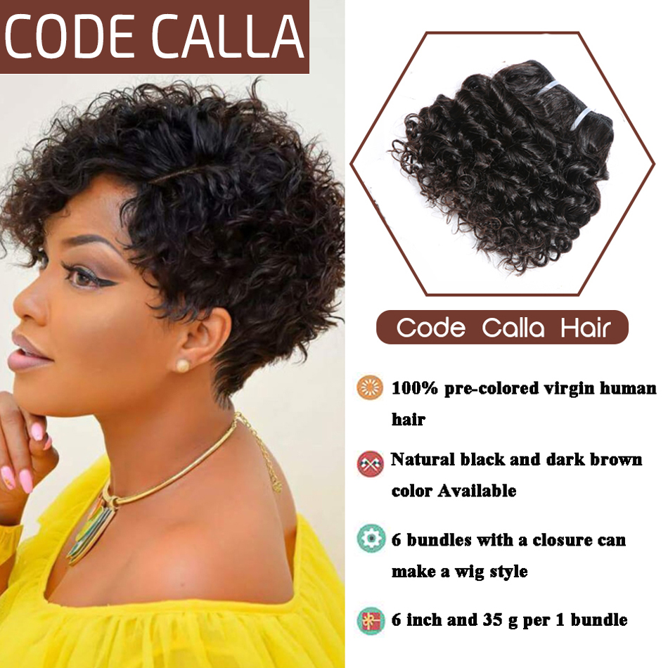 Code Calla Kinky Curly Hair Bundles With Lace Closure Brazilian Remy Human Hair Extensions Double Drawn Weft Natural Black Color