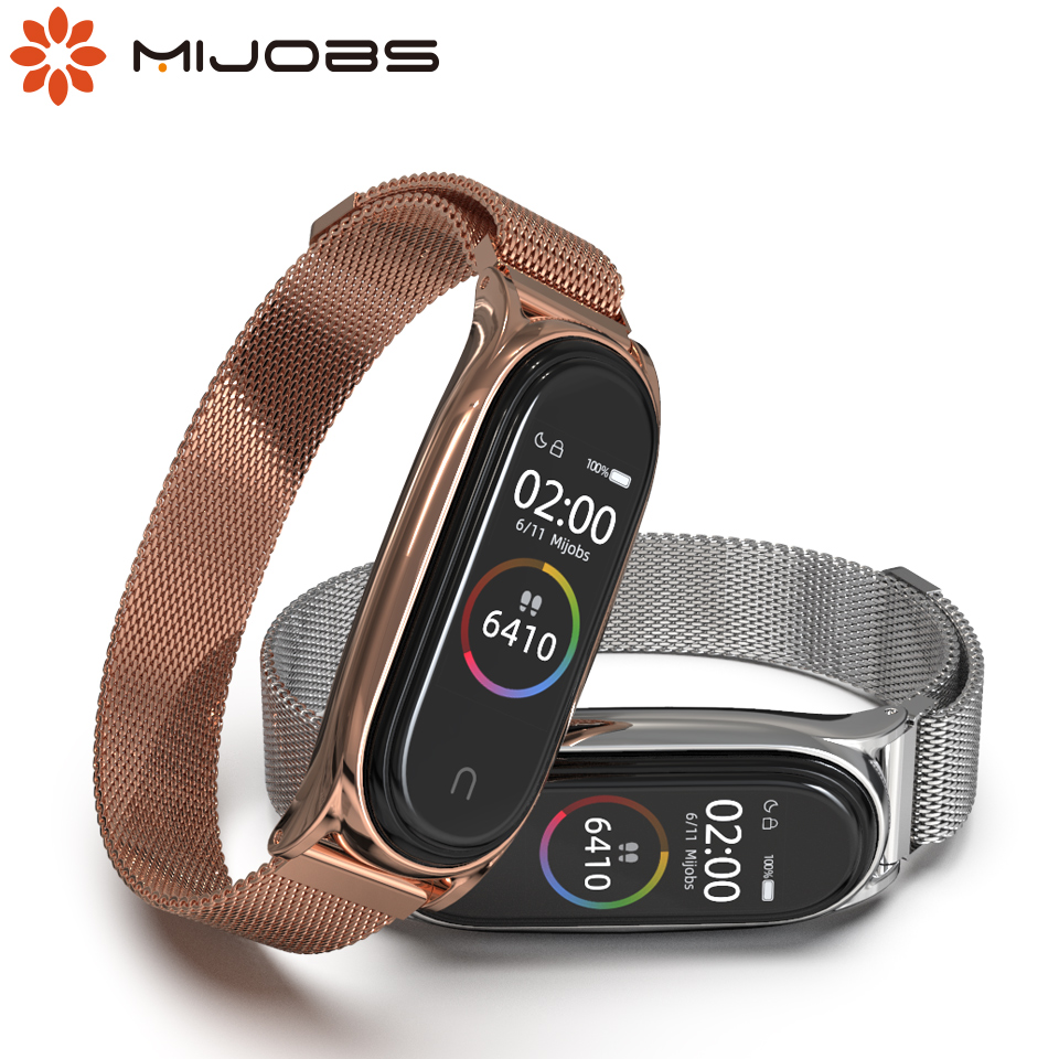 For Mi Band 4 3 Strap Magnetic Metal Screwless Stainless Steel Wrist Straps For Xiaomi Mi Band 4 3 Bracelet Miband 4 3 Wristband