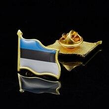 Estonia Estonian Country Metal Flag Lapel Pin Badge Hat Lapel Pin Tie/Clothes Push Flag w/ Butterfly Clip 5pcs estonia estonian country flag lapel clothes hat cap tie pin badge brooch accessories