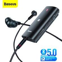 Baseus bongiovi dps bluetooth 5.0 receptor 3.5mm jack áudio bluetooth aux aptx ll hd adaptador sem fio transmissor para fone de ouvido