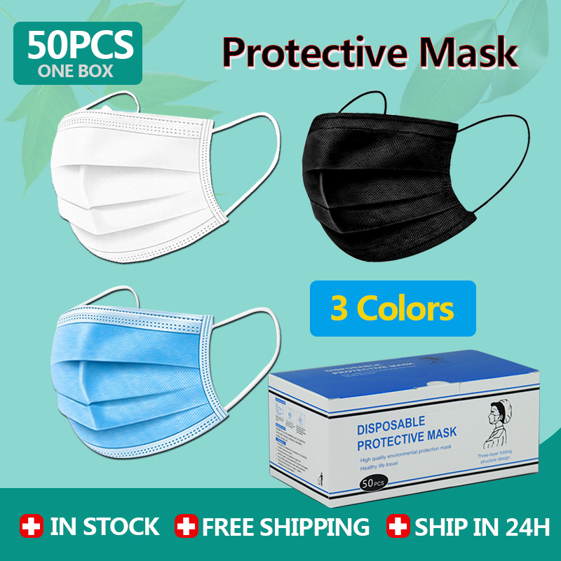 50/100/150PCS Disposable Mask 3 Layer Elastic Mouth Face Mask Anti-bacteria Soft Breathable Man Woman Dust Masks White