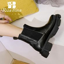 Winter Shoes Footwear Platform Ankle-Boots High-Heel RIZABINA Real-Leather Women Warm