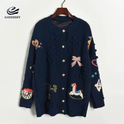 Gozeddit Luxury Designer Knitted Sweaters Cartoon Trojan Horse Butterfly Embroidery Thick Needles Yarn Balls Brand Jumpers