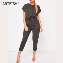 Casual Outfits Streetwear Sets Spring Summer Women Two Pieces Sets Pockets Drawstring Pants Short Tops 2 Pieces Tracksuits M0475 cheap Artfish Ages 16-28 Years Old O-Neck Polyester NONE REGULAR Calf-Length Pants Solid S M L XL 2XL 3XL Spring Summer