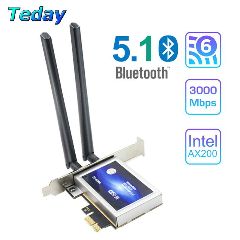 3000Mbps Wifi 6 Intel AX200 PCIe Wireless Wifi Network Adapter AX200NGW Wi-Fi Card 2 4G 5Ghz 802 11AX AC Bluetooth 5 1 For PC