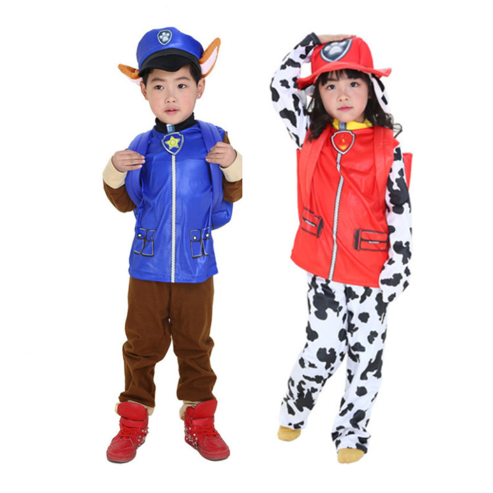 24 Hours Ship Patrol Dog Costume Kids Boys Girls Halloween Carnival Party Skye Marshall Chase Cosplay Costumes 4T-10T 110-140cm