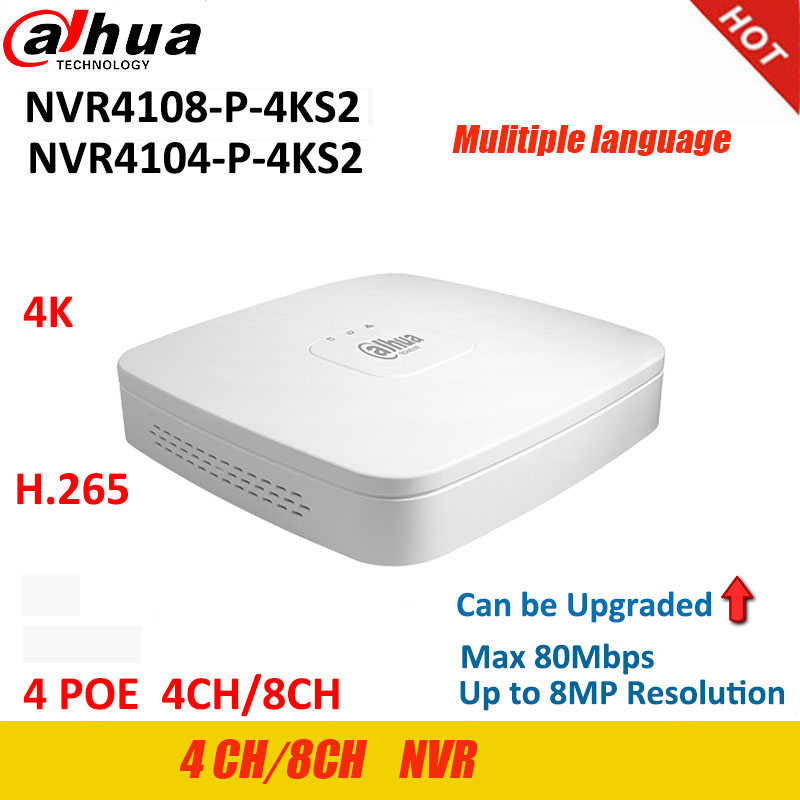 Dahua NVR 4K Video Recorder NVR4104-P-4KS2  NVR4108-P-4KS2  P2P H.265 4Ch 8Ch 4PoE Port Up To 8MP Resolution Can Be Upgrade