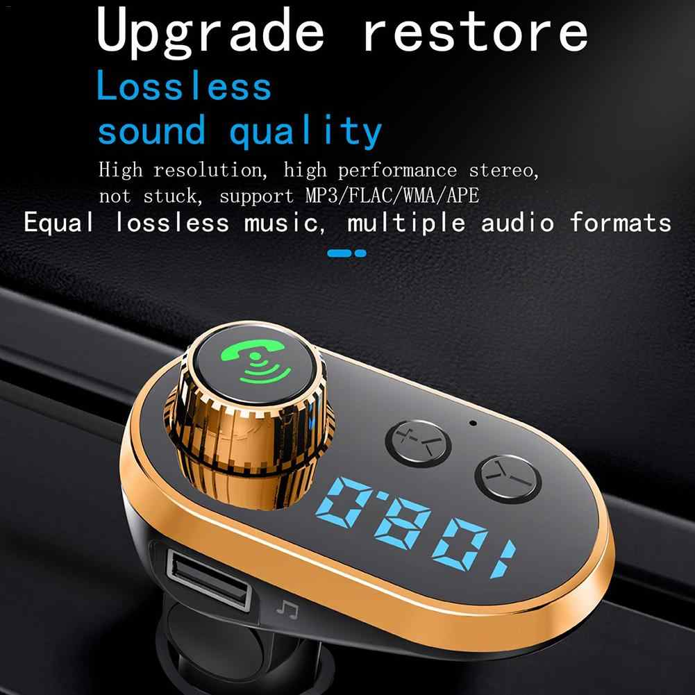 防水車 MP3 プレーヤー HD ブルースクリーン Bluetooth FM トランスミッタ V5.0 TF カード 5 V/3.1A オーディオ車変調器