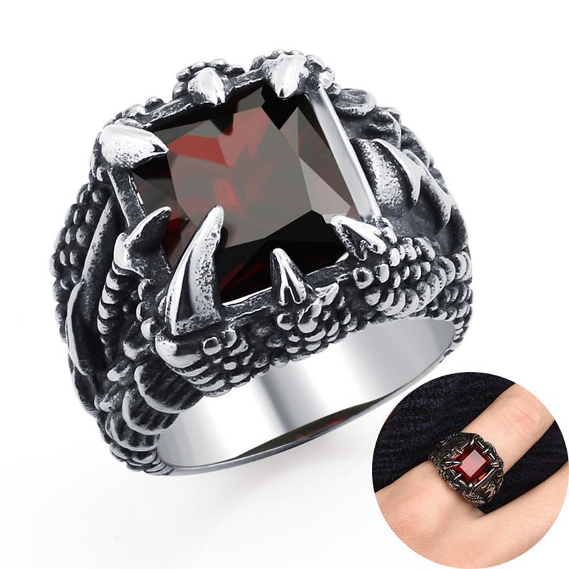 Vintage en acier inoxydable anneau hommes Punk Dragon griffe cristal cubique zircone bague 2020 nouveau chaud à la mode mâle bijoux fête cadeau