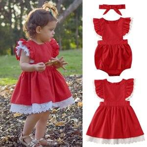 Maluch dzieci dziewczynek ubrania siostra pasujące Xmas body sukienka zestawy strojów krótka, koronkowa guzik na rękawie czerwony garnitur