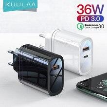 KUULAA – chargeur USB 36W Quick Charge 4.0 PD 3.0, Type C, adaptateur pour téléphone Portable, compatible avec iPhone Xiaomi