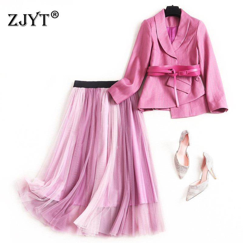 2020 New Spring Lady Skirt Two Piece Set Women Fashion Office Work Outfits Stiped Belted Blazer And Tulle Skirt Suit Sets