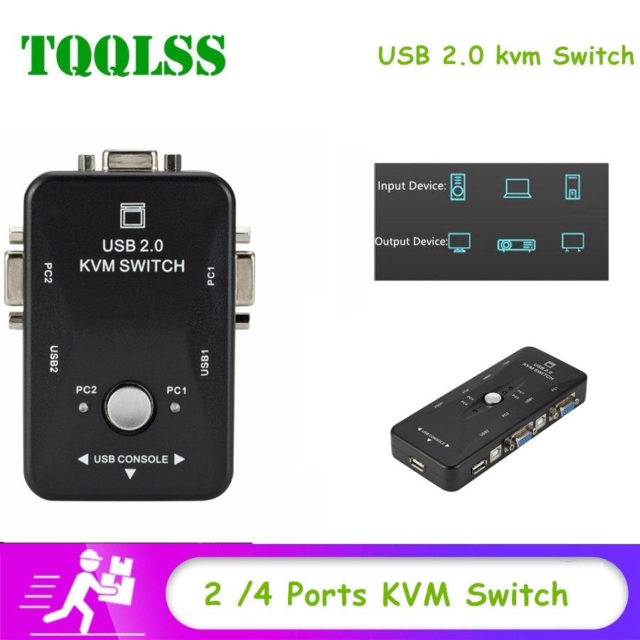 2/4 Ports USB 2.0 KVM Switcher Box For Mouse Keyboard Printer Share Switch 200MHz 1920x1440 VGA Monitor Box Adapter KVM Switcher