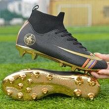 Спортивная обувь с шипами для футбола; высокие футбольные бутсы; коллекция года; Цвет черный, золотой; уличные мягкие футбольные кроссовки; мужские детские ботильоны