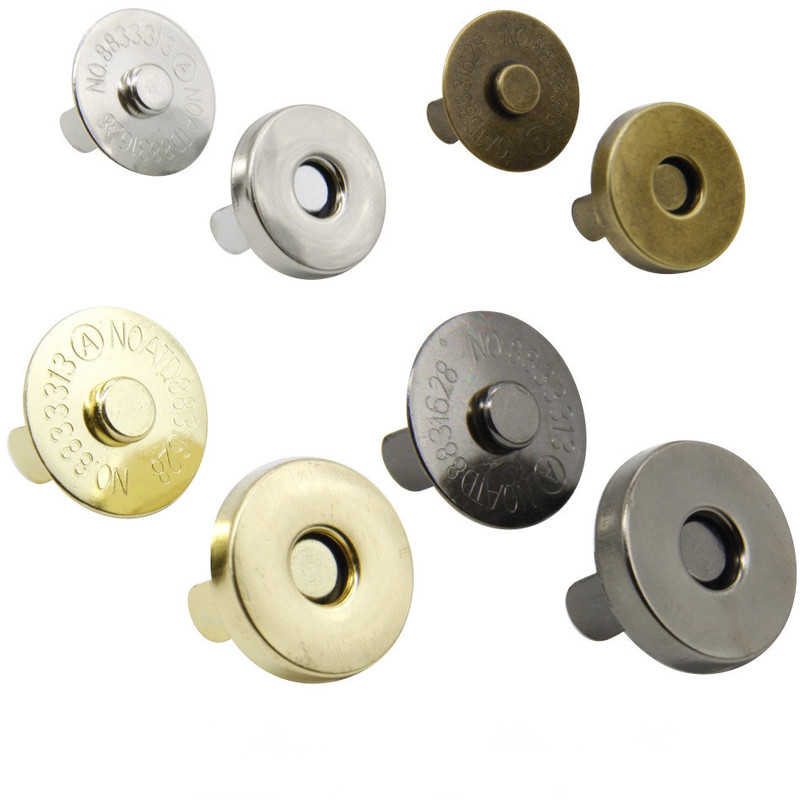 1Set Classic Quality Round Magnetic Clasp For Bag Metal Silver Purse Snaps Closures Button Press Stud Bag Accessories 14mm 18mm