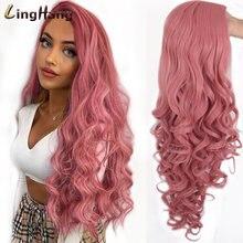 Linghang длинные волнистые красные парики фиолетовые и черные