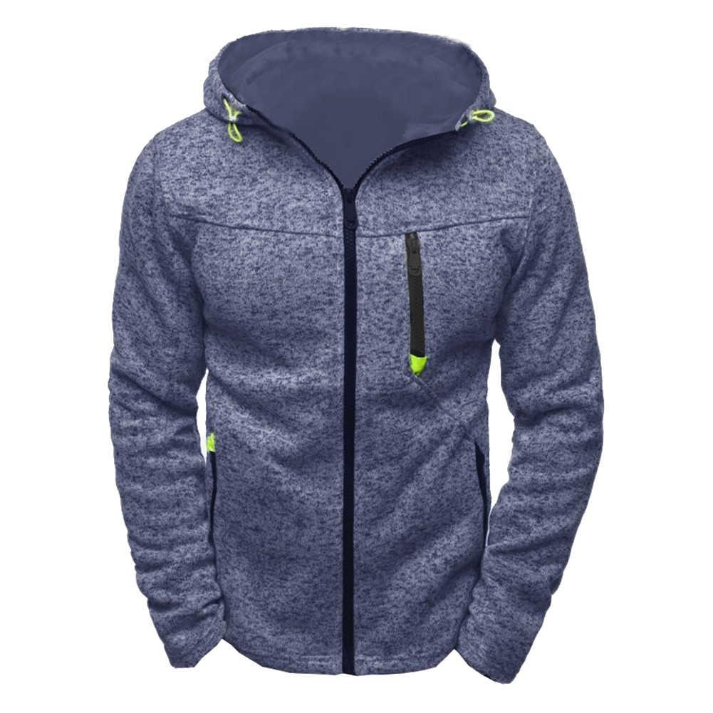 후드 코트 남성 캐주얼 스웨터 스포츠 가을 겨울 따뜻한 짙은 자켓 남성 지퍼 스웨터 후드 코트 지퍼 솔리드 컬러
