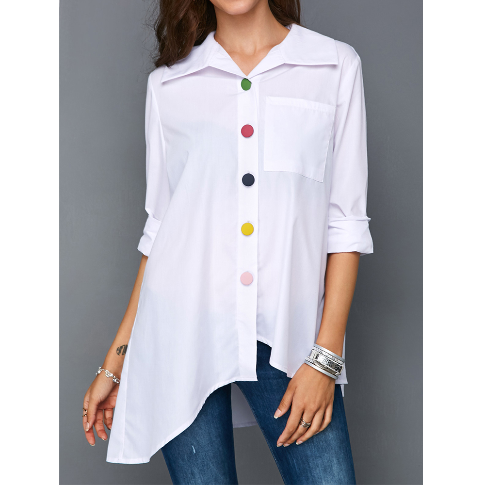 Plus Size Women's White Shirt Top Colorful Button Anomalistic Women's Blouse Long Sleeve Summer Tunic Fashion Woman Blouses 2019