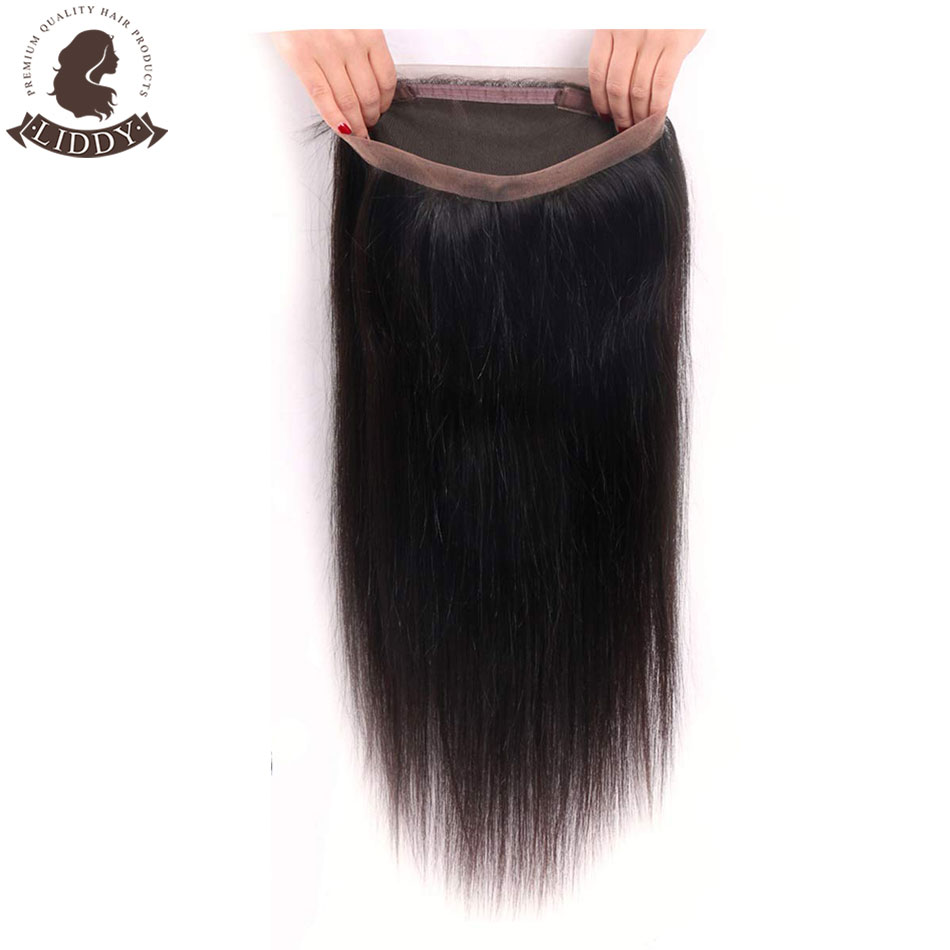Liddy Straight 360 Lace Frontal 100% Human Hair Closure Brazilian Hair Weaving Natural Color Remy Hair Frontal Closure