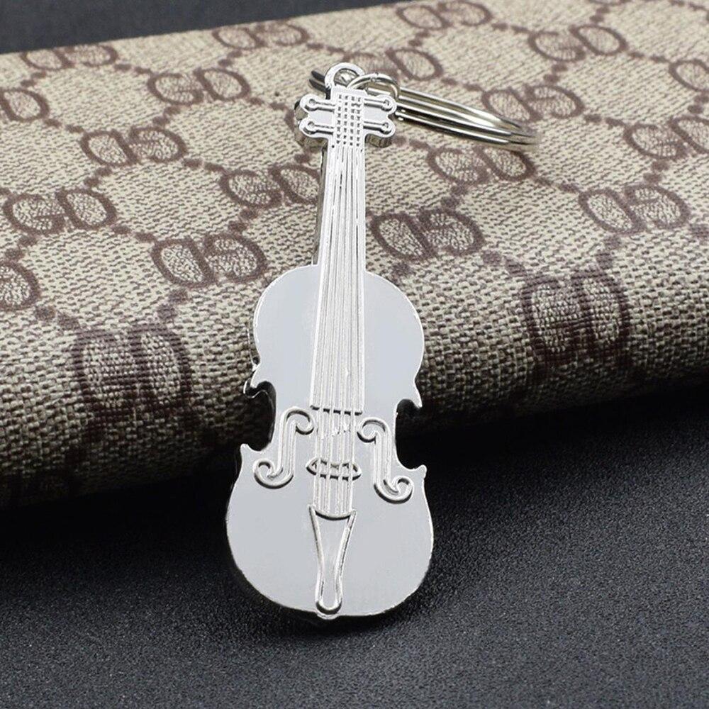 Moda violino metal chaveiro do carro à moda música chaveiro masculino feminino pingente presente criativo jóias