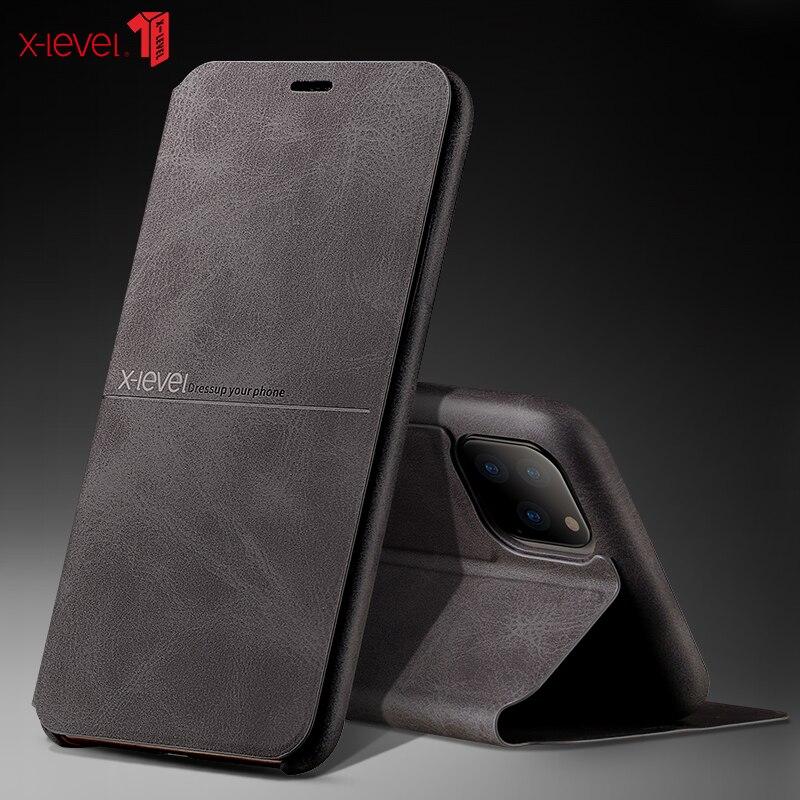 X-level casos de couro de luxo para 2019 novo iphone 11 pro xs max xr x 8 6 s 7 plus capa de negócios de proteção completa