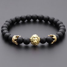 Men Bracelet Crown Gift Women Jewelry Lion Fashion Charm Stone-Bead-Strand Classic
