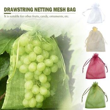 50pcs Garden Vegetable Fruit Grow Bag Plants Protection Bag Anti Bird Drawstring Netting Candy Makeup Mesh Pouch Pest Control