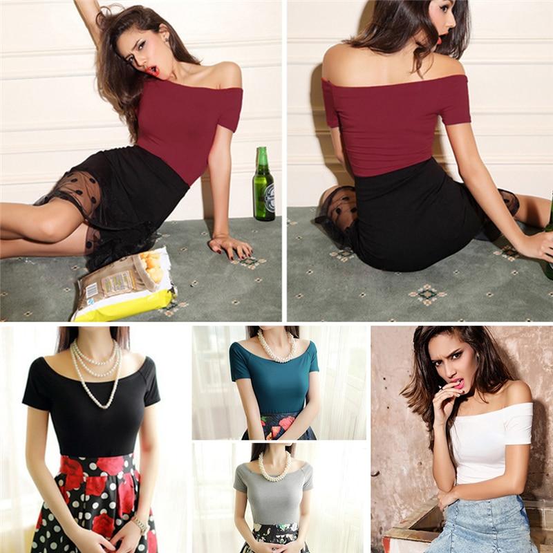 2020 Mode Zomer Mode Sexy Plain Off Shoulder Top Vrouwen Casual Korte Mouw T-shirt