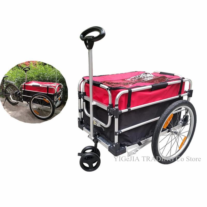 2 In 1 Bicycle Trailer & Hand Cart, Aluminium Alloy Frame Bike Cargo, 20 Inch Big Wheel Luggage Trailer