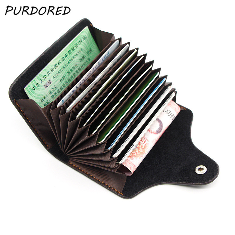 PURDORED 1 Pc 11 Slots Card Holder Genuine Leather Solid Color Card Wallet Zipper Business Card Case Unisex Cards Coin Purse Bag