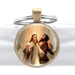 Классический Иоанн Креститель Иисус Христос стеклянный купол для ключа цепь христианские мужчины женщины мужчины ювелирные изделия кольц...