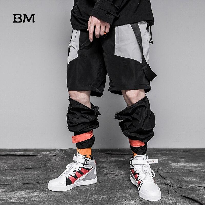 Fashion Cargo Pants Male Summer Thin Removable Casual Pants Techwear Harem Shorts Stitching Streetwear Hip Hop Joggers Men