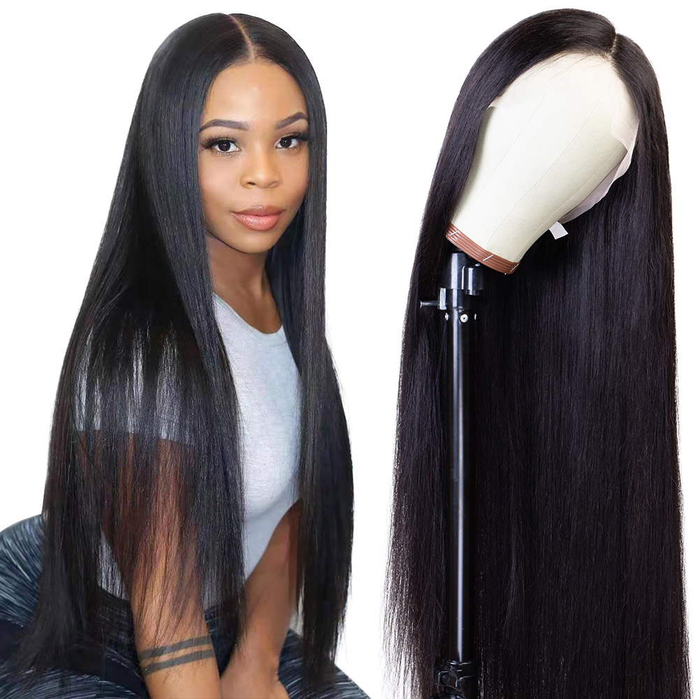 4*4 Straight Lace Front Human Hair Wigs for Black Women Closure Wig Transparen Lace HD Lace Frontal Wigs Full Human Hair