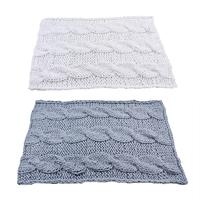 Handmade Sofa Blanket Knitted Thick Large Pet Bed Mat Rug For Living Room 120 X 150CM