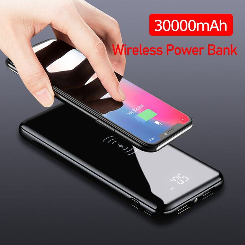 QI Беспроводное зарядное устройство 30000 мАч для iPhone 11 XS Max Samsung Power Bank Dual USB зарядное устройство беспроводной внешний аккумулятор