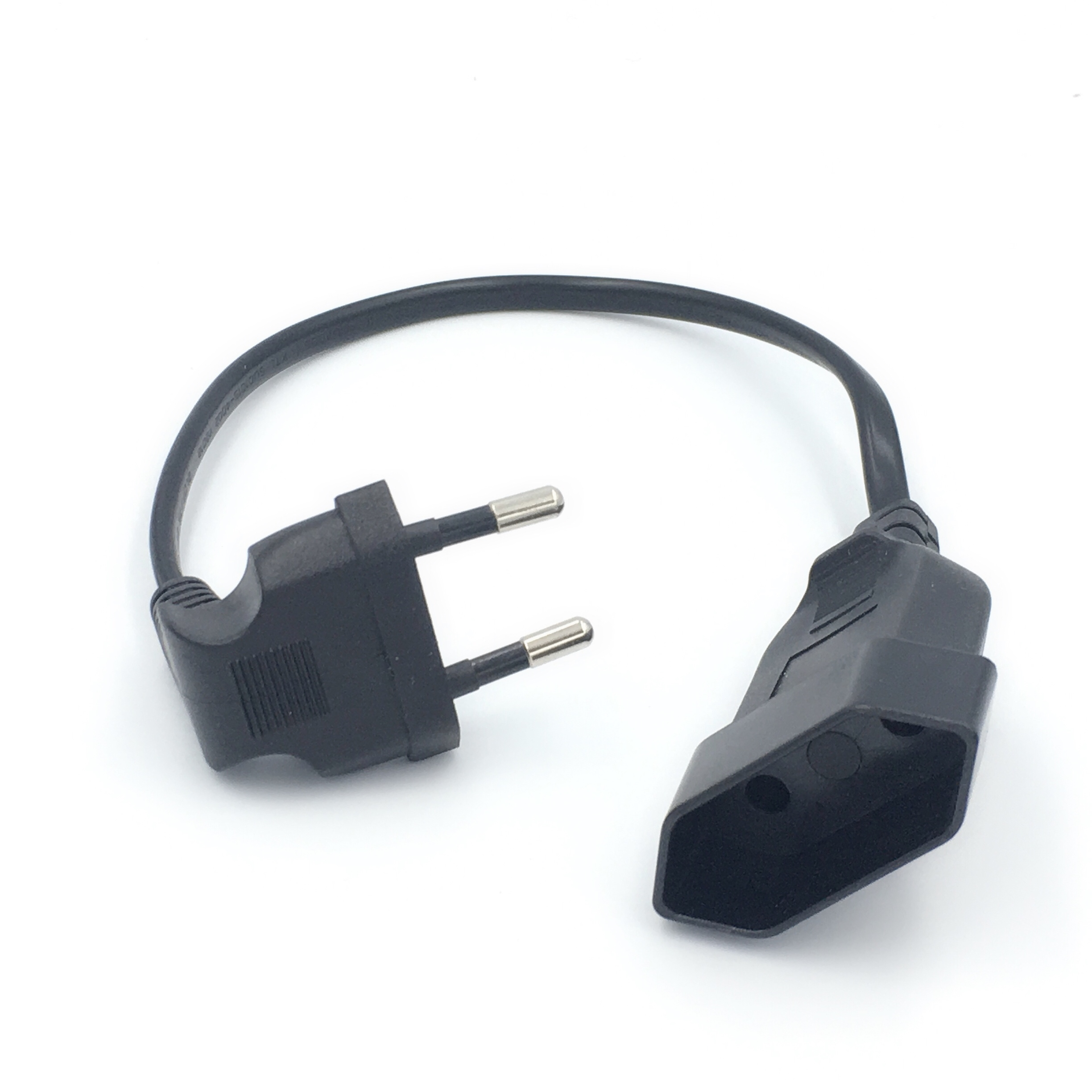 1PCS EU Power Adapter Cord,90 Degree Angled European Round 2Pin Male To Female Plug Power Cable For UPS PDU 0.3M/0.6M