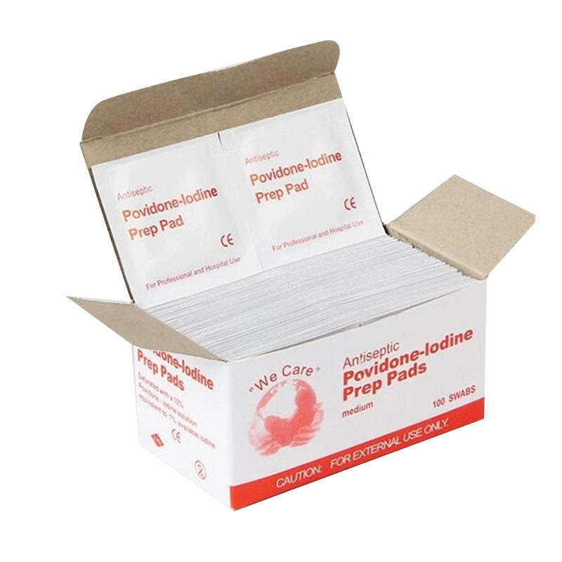 500 Pcs Portable Povidone-Iodine Prep Pad Sealed Sterile Packing Disposable Wound Disinfection Pad For Outdoor Travel Home