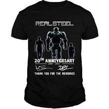 Aço real 20th anniversary 2001 2021 obrigado para as memórias assinaturas camisa preto
