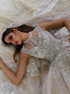 Dress Wedding Amanda Novias Sposa Dubai Lace with Veil Abito Luxury