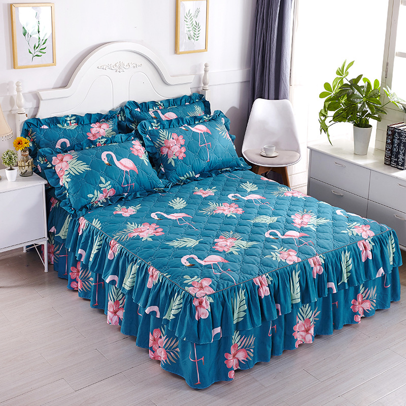 Korean Simmons Bed Skirt Quilted Thick Thick Comfortable Brushed Bed Cover Sheets All-inclusive Dust Cover Home Decoration Refreshing And Beneficial To The Eyes