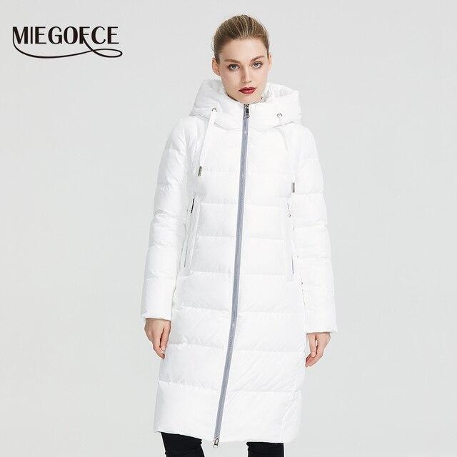 MIEGOFCE 2020 חדש חורף נשים אוסף מעיל Ladie חורף מעיל מתחת הברך אורך חם מעיל עם ברדס להגן על Ffrom רוח קר