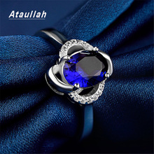 Ataullah Sapphire Gemstone Ring Silver 925 Jewelry Inlaid with 3A Zircon Blue Diamond Rings Fine for Woman Wedding RW090