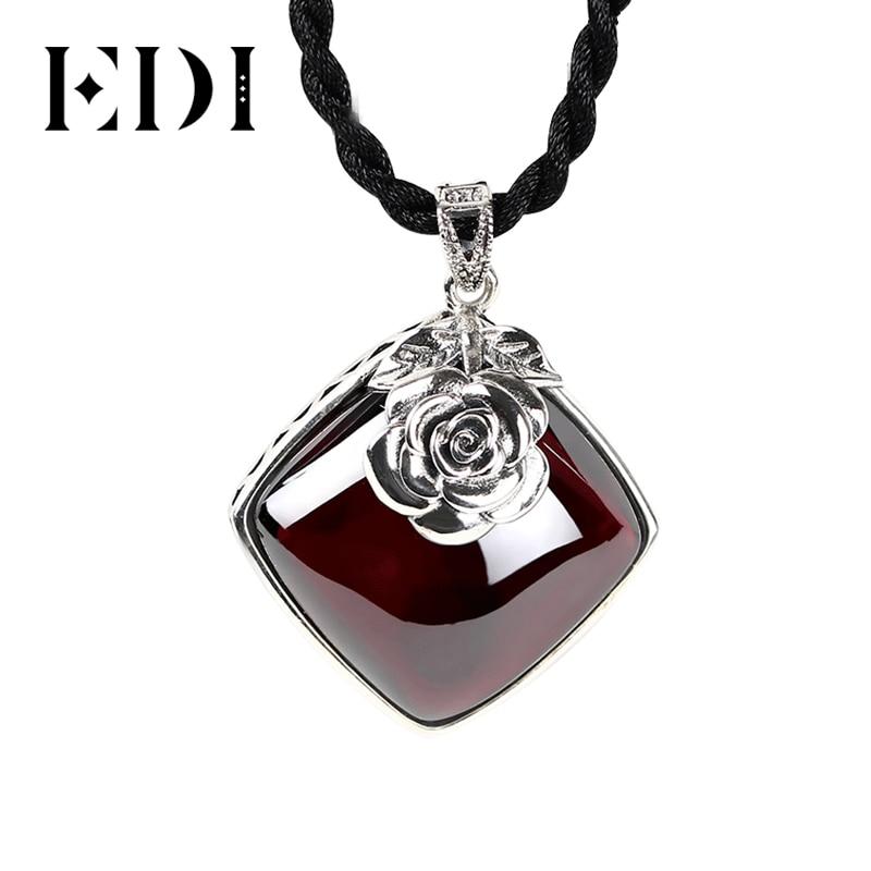 EDI 925 Sterling Silver Garnet Pendant Necklace Retro Silver Flower Necklace For Women