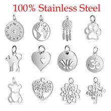5pcs/lot 100% Stainless Steel Dog Paw Cat Animal Charm Wholesale Sun Om Connector Yoga Lotus Heart DIY Charms for Jewelry Making