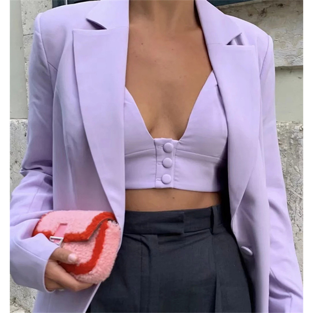 Teenage Dream Shorts Lilac Western style retro temperament purple small suit jacket vest + wide leg shorts crop top 5