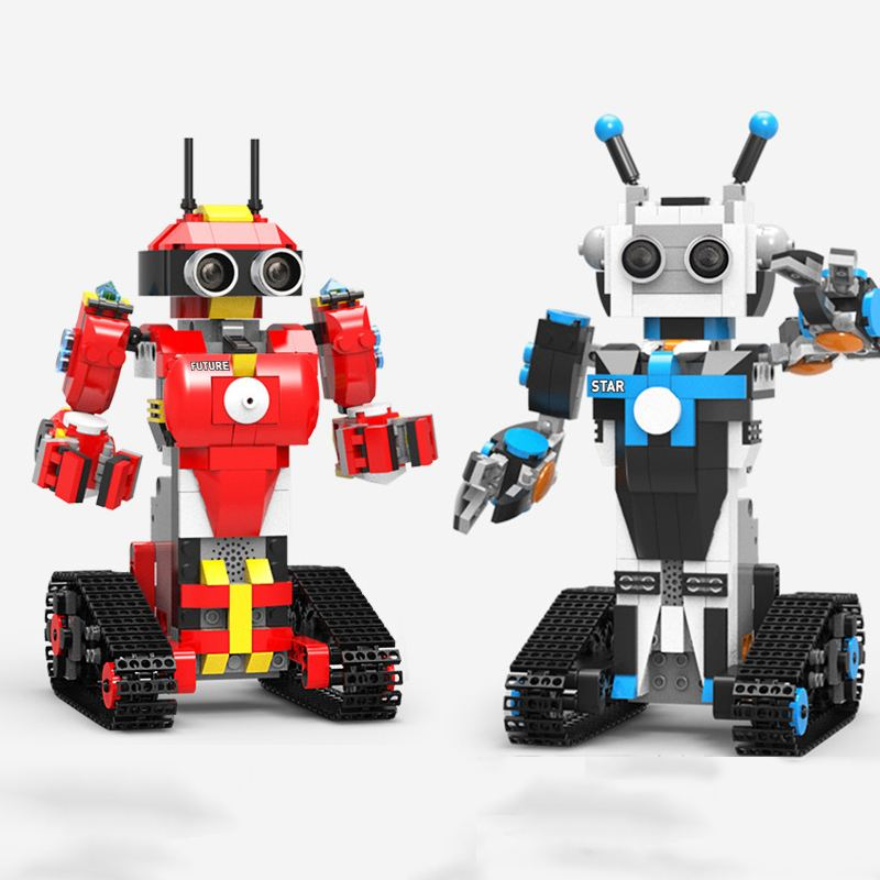 XuanPing DIY STEAM Block Building RC Robot Stick / App Control Progarmmable Robot Toy develop logic thinking practical abilities