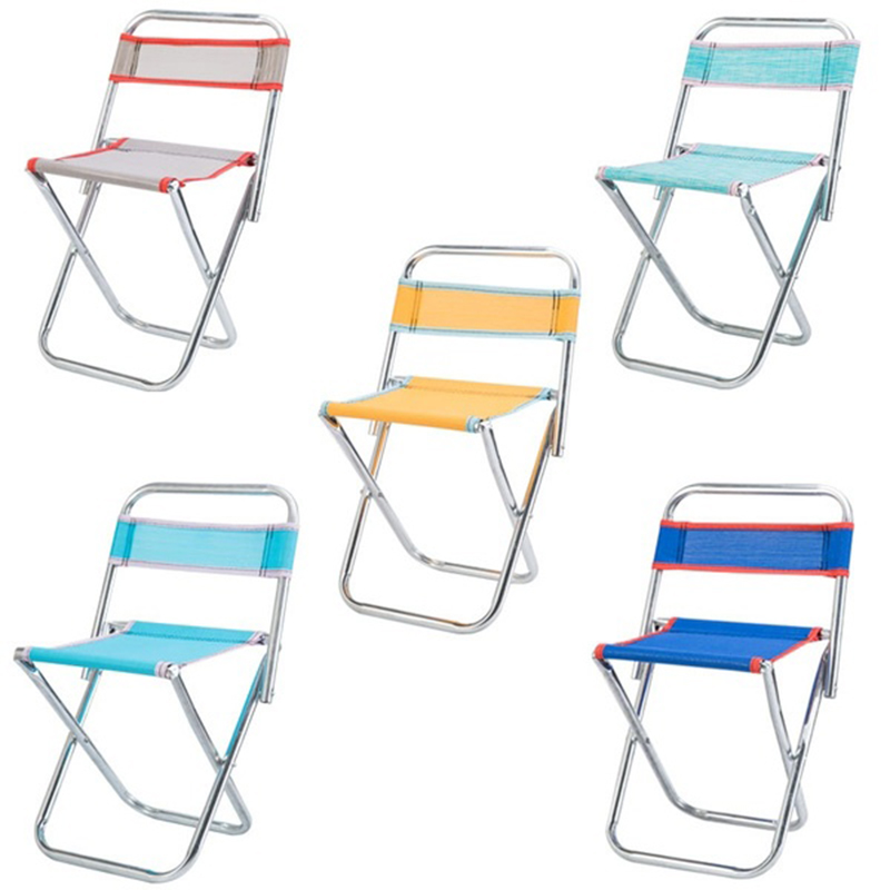 Stainless Steel Folding Chair Outdoor Portable Mesh Chair Fishing Stool Folding Chair Camping Travel Chair Random Color